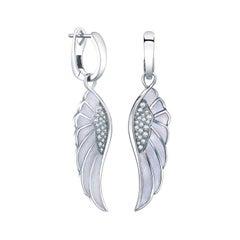 Garrard 'Wings Reflection' 18 Karat Gold Diamond and Colored Enamel Earrings
