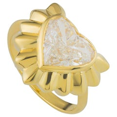 Garrard Yellow Gold Heart Shaped Diamond Engagement Solitaire Ring 2.68 Carat