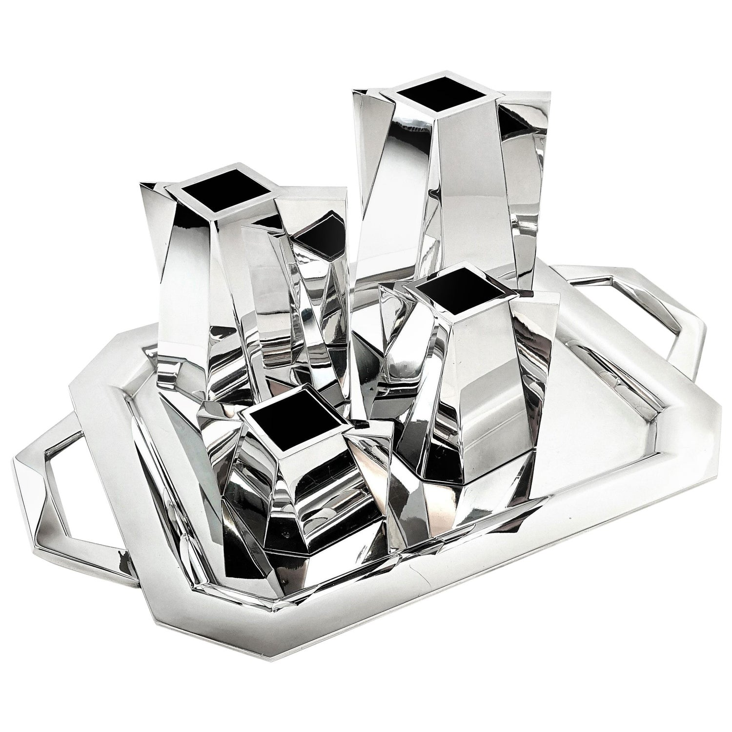 Garrido 5-Piece Sterling Silver Prism Tea and Coffee Set on Tray c 2000 Modern
