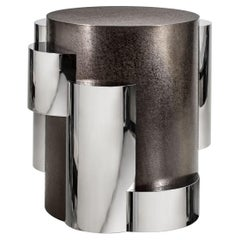 Garrido Cilindros Side Table in Anthracite Nickel Finish