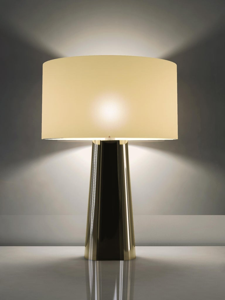 Spanish Garrido Concave Table Lamp in 24 Karat Champagne Gold Finish For Sale