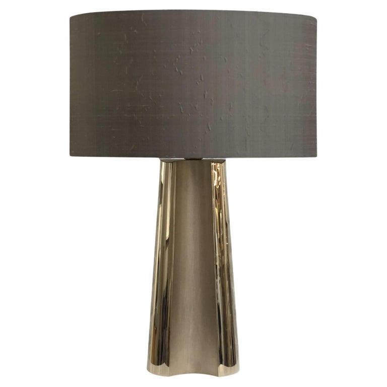Garrido Concave Table Lamp in 24 Karat Champagne Gold Finish For Sale