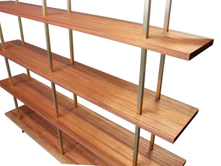 American Garrison Floating Shelves in Bronze with Sapele Wood For Sale