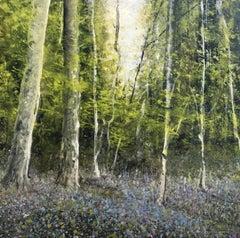 Bluebells original miniature landscape painting Contemporary Impressionism