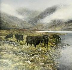 Classic Highland Landscape-original contemporary wildlife painting-Free Shipping