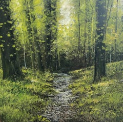 Deep Woods original miniature landscape painting Contemporary Impressionism