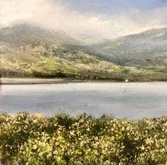 Distant Cottage Original miniature landscape painting Contemporary Art