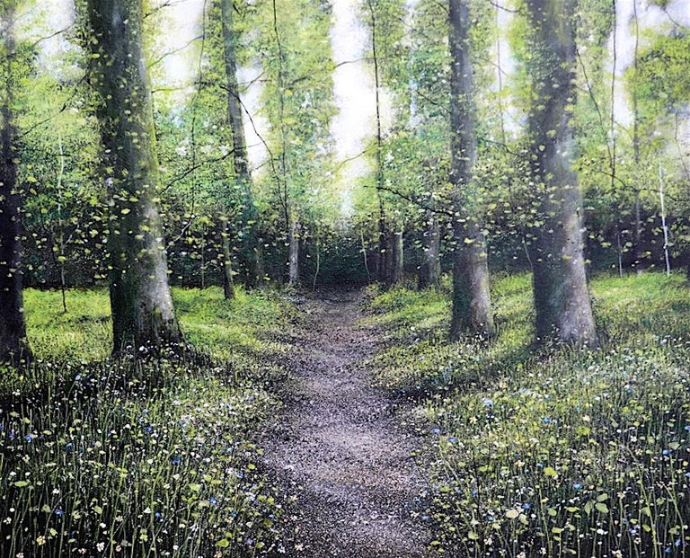 Down Chorus original Bluebells Forest landscape painting - Painting by Garry Raymond - Pereira
