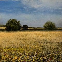 Mustard original miniature landscape painting Contemporary Impressionism