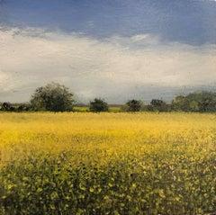 Mustard Study Original miniature landscape painting Contemporary Impressionism