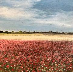 Norfolk Poppy Original miniature landscape painting Contemporary Impressionism
