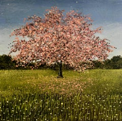 Pink Blossom Original miniature landscape painting Contemporary Impressionism