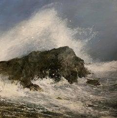 Seaside Rock original miniature landscape painting Contemporary Impressionism