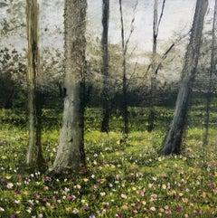 Spring crocus original miniature landscape painting Contemporary Impressionism