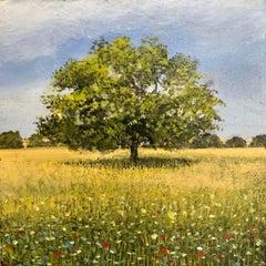 Summer oak original miniature landscape painting Contemporary Impressionism