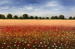 Summer Poppies miniature landscape painting Contemporary Impressionism