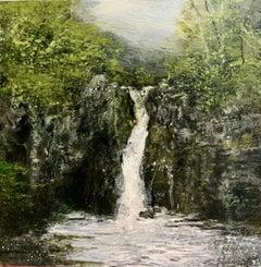 Waterfall Original miniature landscape painting Contemporary Impressionism