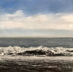 Waves I original miniature landscape painting Contemporary Impressionism