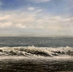 Waves III original miniature landscape painting Contemporary Impressionism