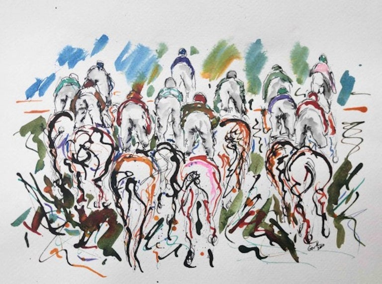 Garth Bayley, Riding High, Contemporary Art, Horse Racing Art, Affordable Art - Painting by Garth Bayley