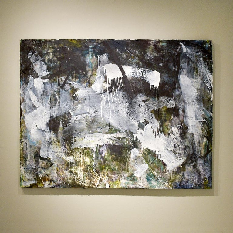 Gestural abstract expressionist oil painting on canvas in black and white, with details of forest green and purple Painted by Hudson Valley based artist, Gary Buckendorf, in 2019   48 x 60 inches, with dark green painted sides, ready to hang as is