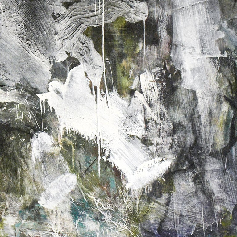 December 2018: Black & White Abstract Expressionist Oil Painting with Charcoal  For Sale 2