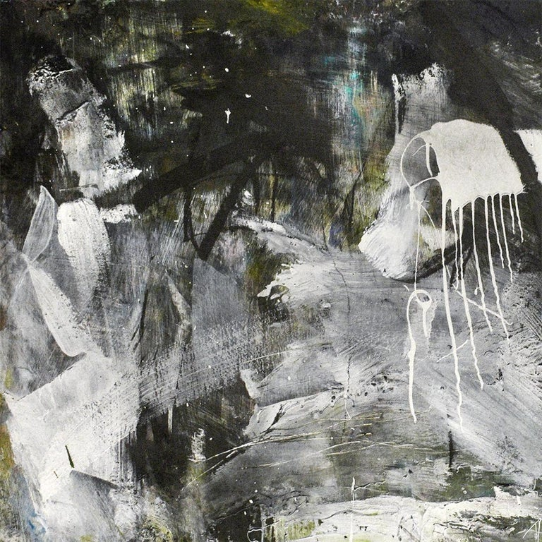 December 2018: Black & White Abstract Expressionist Oil Painting with Charcoal  For Sale 3