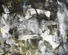 December 2018: Black & White Abstract Expressionist Oil Painting with Charcoal