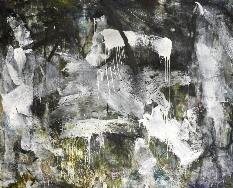 Gary Buckendorf Abstract Painting - December 2018: Black & White Abstract Expressionist Oil Painting with Charcoal