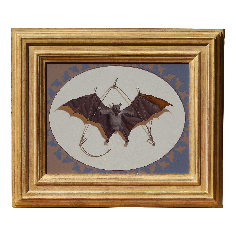 "Gary Erbe Trompe L'Oeil Bat Subject Oil on Canvas, ""All Creatures"""