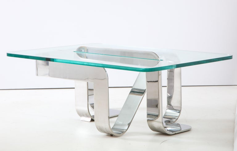 Gary Gutterman Sculptural Cocktail Table in Steel and Glass For Sale 4