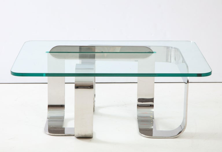Mid-Century Modern Gary Gutterman Sculptural Cocktail Table in Steel and Glass For Sale