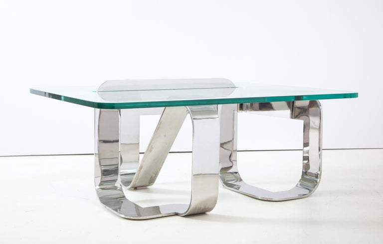 American Gary Gutterman Sculptural Cocktail Table in Steel and Glass For Sale