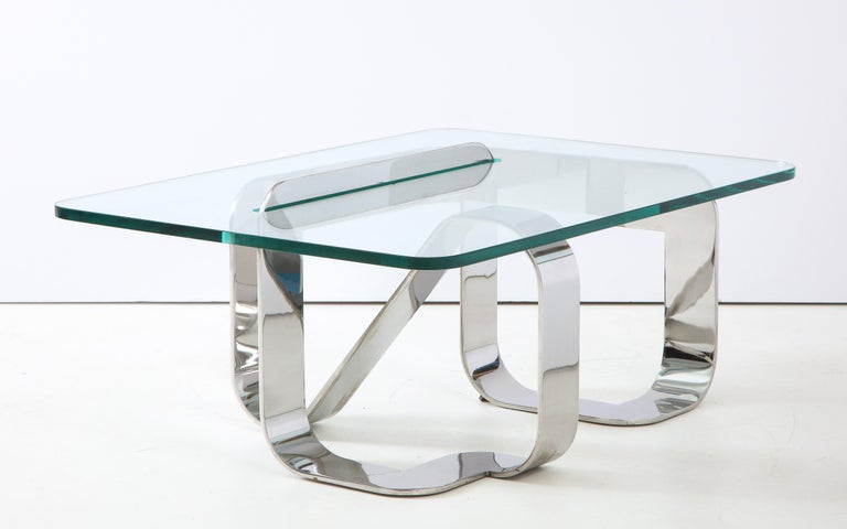 Gary Gutterman Sculptural Cocktail Table in Steel and Glass In Good Condition For Sale In New York, NY