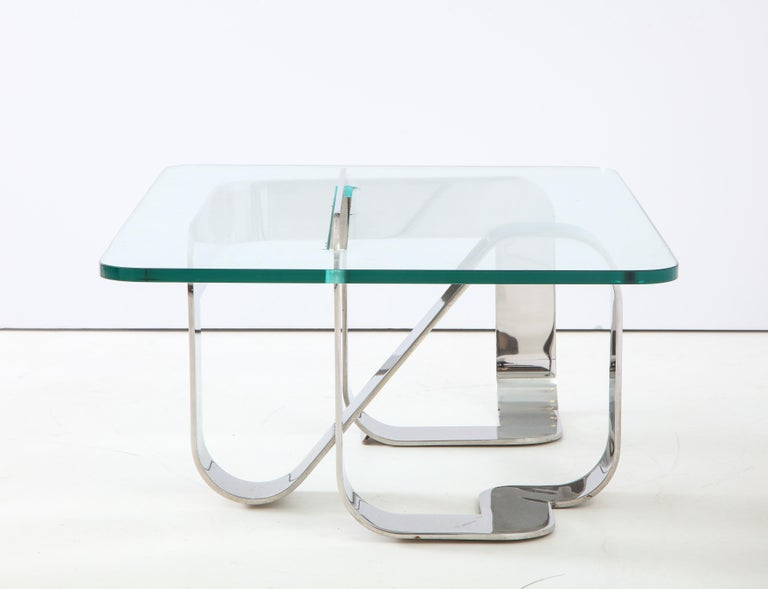 Late 20th Century Gary Gutterman Sculptural Cocktail Table in Steel and Glass For Sale