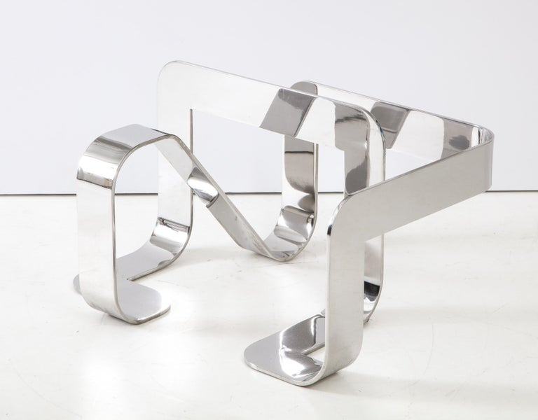 Gary Gutterman Sculptural Cocktail Table in Steel and Glass For Sale 2