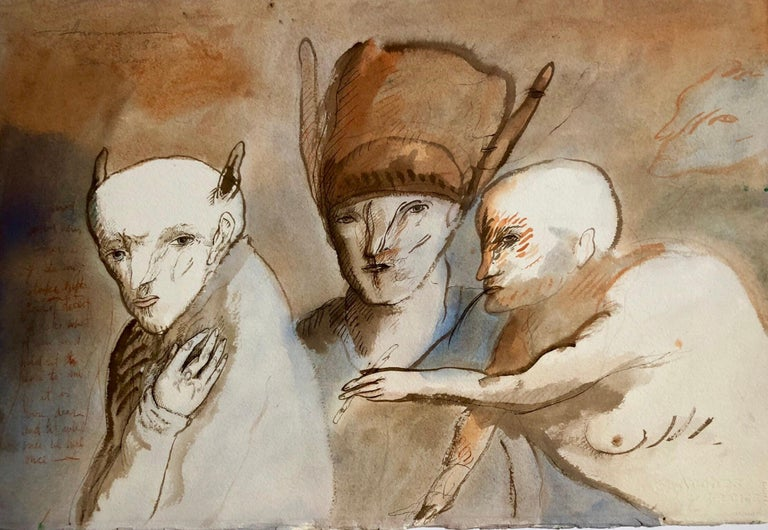 Modern Figurative Surrealism Watercolor Painting, Drawing 'Faces of Deceit'  For Sale 1