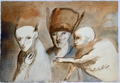 Modern Figurative Surrealism Watercolor Painting, Drawing 'Faces of Deceit'