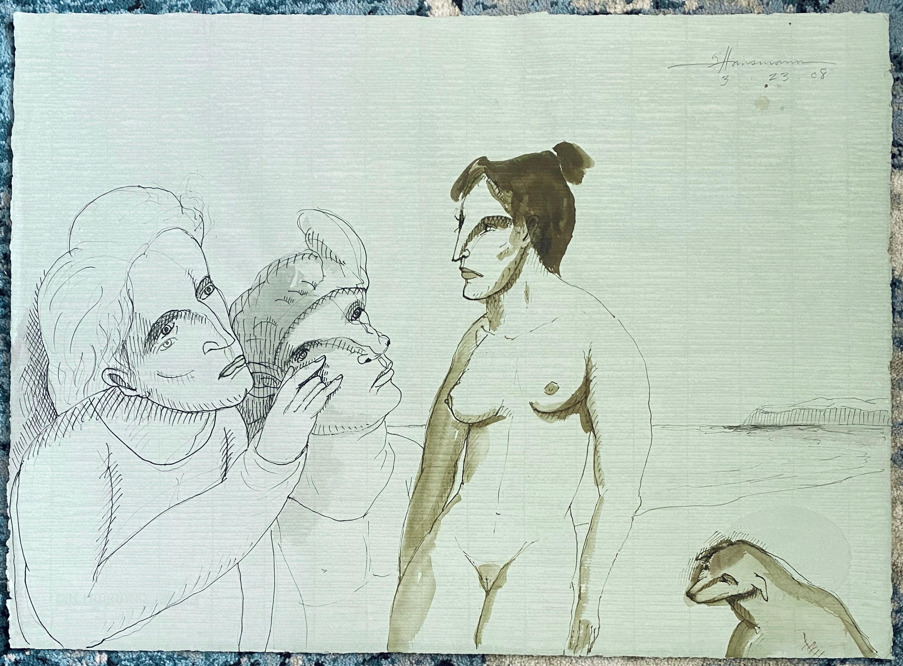 Modern Figurative Surrealism Watercolor Painting, Drawing - Women On The Beach