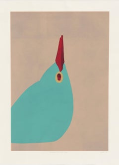 Gary Hume, Paradise Four, Linocut, 2012; abstracted bird