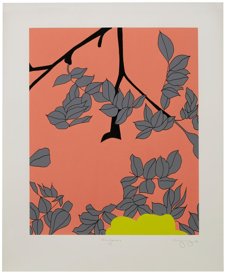 Gary Hume Landscape Print - Grey Leaves