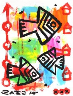 """Family of Fish"" - Original Street Art Painting by Gary John"