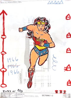 Go Wonder Woman! - Large Mixed Media Artwork on Architectural Paper