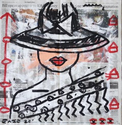 Lady in LA Times - Original Figurative Street Art Painting