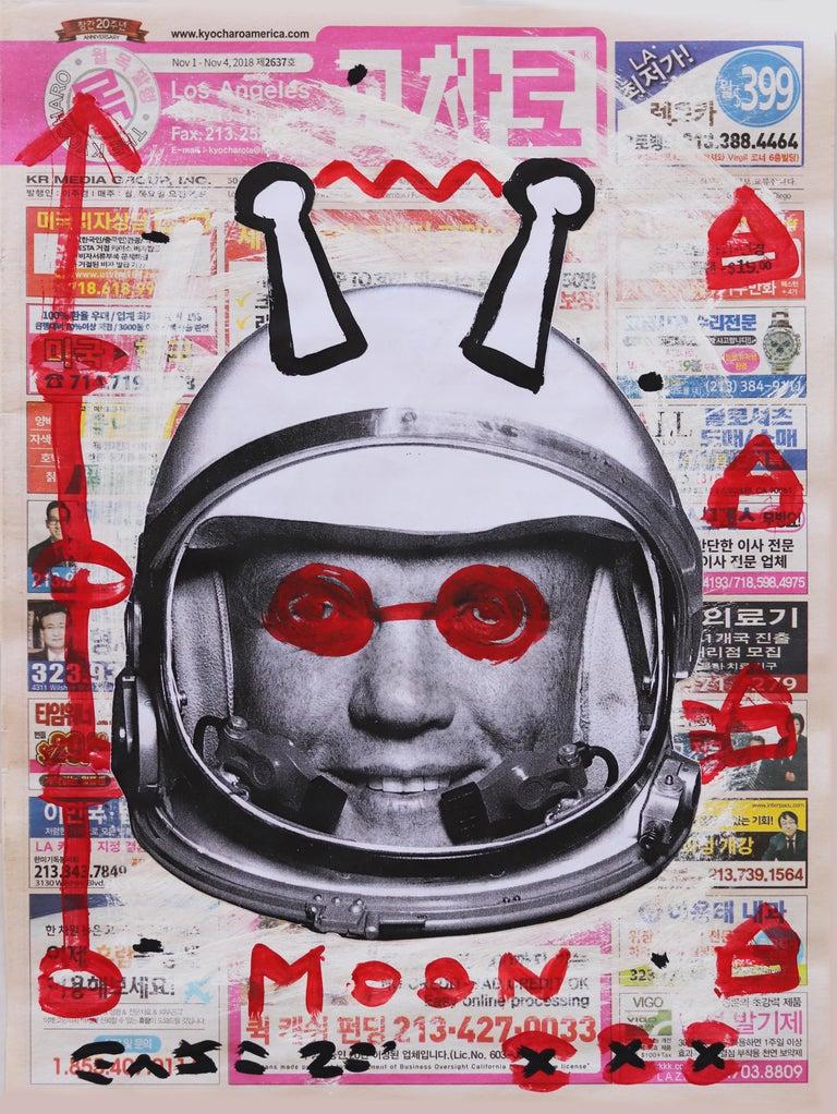 Moon Man Mood - Mixed Media Art by Gary John