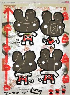 "Two Original Artworks: ""Bat Cat"" and ""Happy Best Friends"""