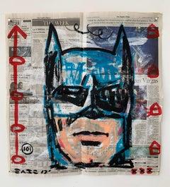 """Batman"" Acrylic and Collage on Los Angeles newsprint"