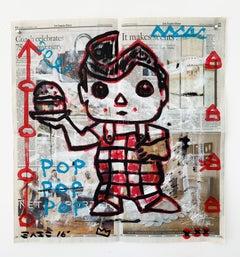 """Bob's Pop"" Acrylic and Collage on Los Angeles newsprint"