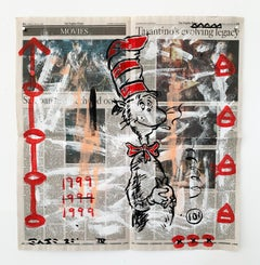 """""""Dr. Suess"""" Acrylic and Collage on Los Angeles newsprint"""