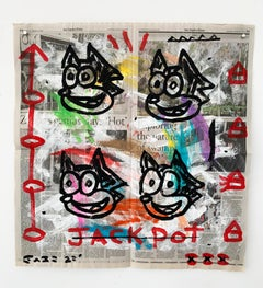 """""""Jackpot"""" Acrylic and Collage on Los Angeles newsprint"""